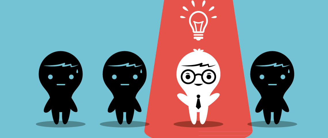 фигурка человека, галстук, идея, лампочка, via shutterstock