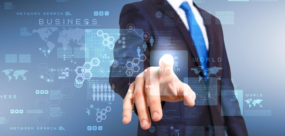 бизнесмен, указывает, технологии, via shutterstock