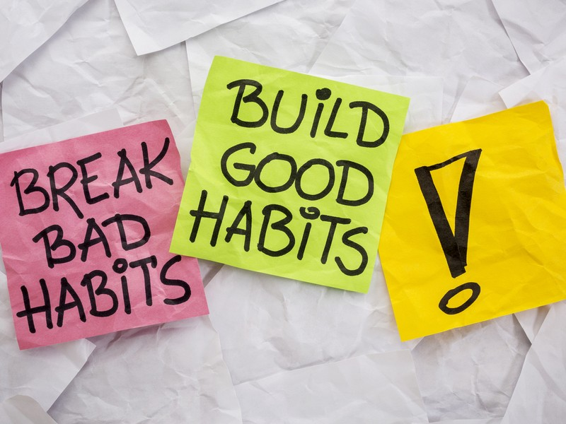 break bad habits, build good habits via shutterstock