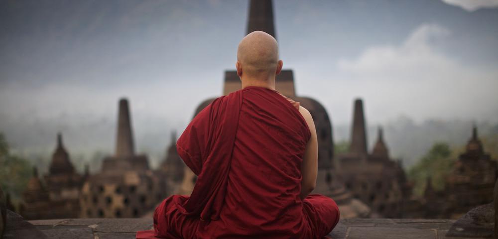 Монах, медитация, via
