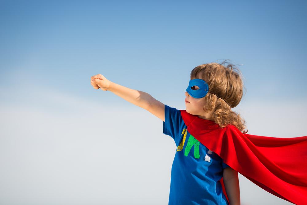ребенок супергерой, via shutterstock