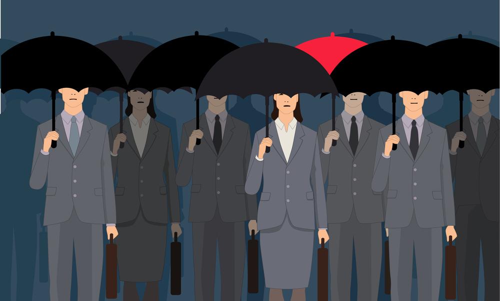 нарисованные мужчины и женщины с зонтиками, via shutterstock