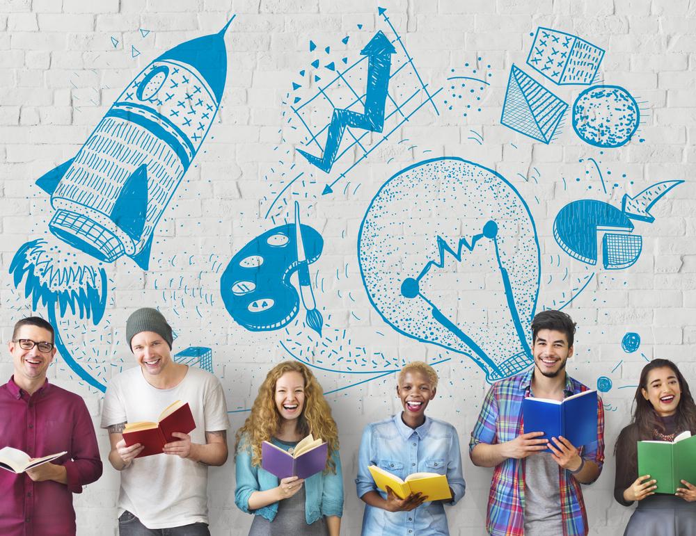 группа молодых людей с книгами, via shutterstock