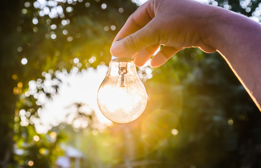 лампочка в руке, via shutterstock